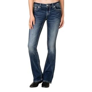 Miss Me Denim Jeans Womens Ice Flap Boot Cut Medium MP8775B