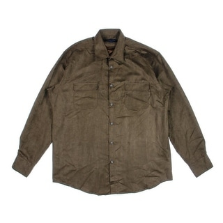 Michelsons Mens Button-Down Shirt Faux Suede Long Sleeve - XL
