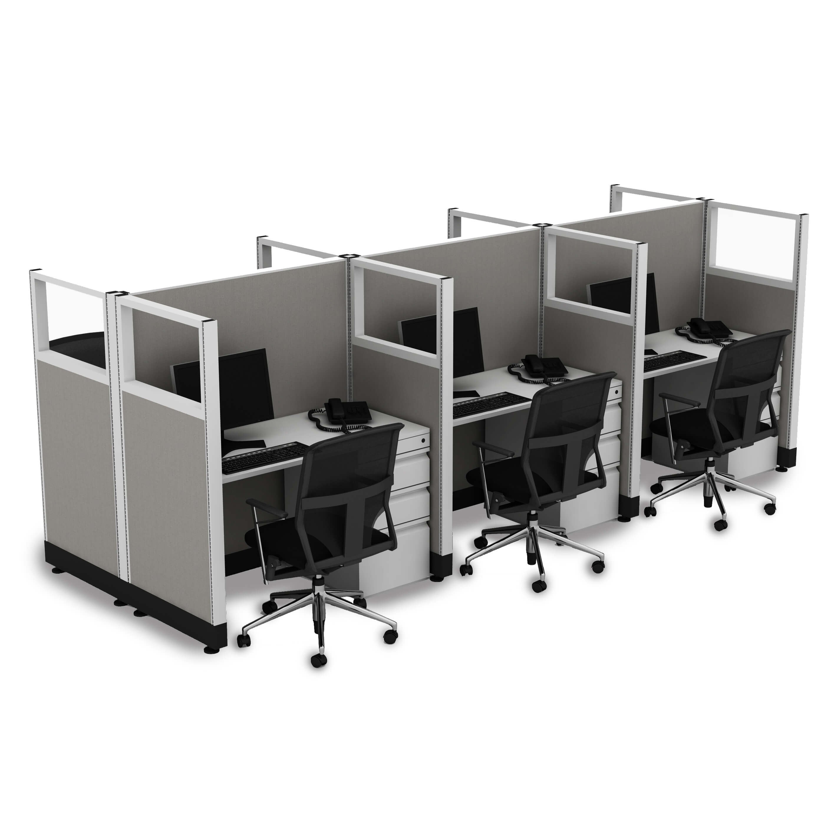 Cubicle Workstations 53H 6pack Cluster Powered (4x4 - Walnut Desk Silver Paint - Assembled)