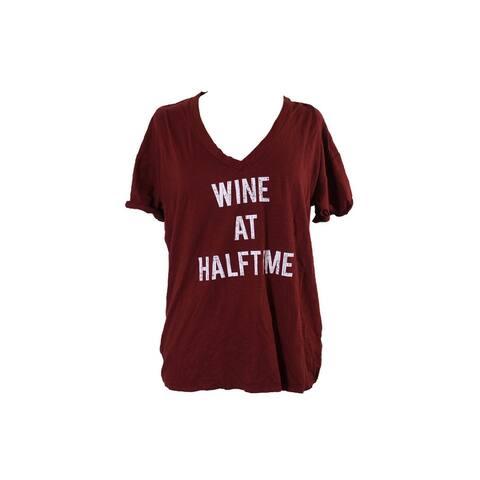 Retro Brand Burgundy Graphic Print V-Neck T-Shirt M