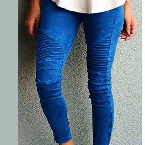 New Women Stretch Leggings Pants Fold High Waist Retro Elastic Slim Fit Trousers