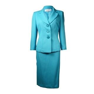Le Suit Women's Yacht Club Jacquard Skirt Suit