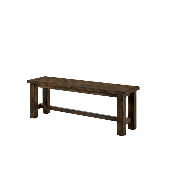 Transitional Style Rectangular Solid Wood Bench with Block Legs, Brown