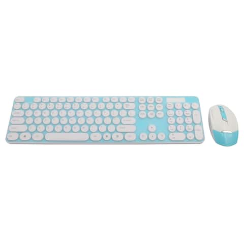 PC Round Button 2.4G Optical Wireless Keyboard Mouse Keypad Film Kit Teal Blue