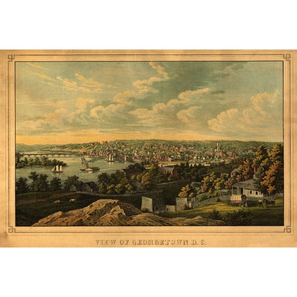 Georgetown, DC - (1855) - Panoramic Map (Art Print - Multiple Sizes Available)