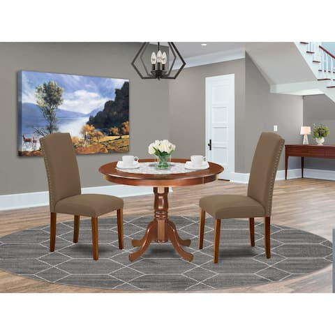Round 42 Inch Table and Parson Chairs in Dark Coffee Linen Fabric (Number of Chairs Option)