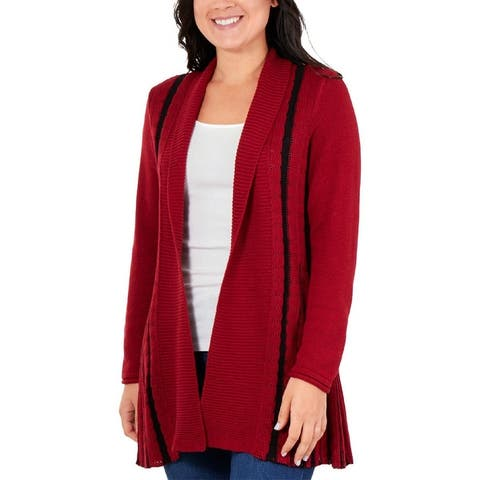 NY Collection Womens Petites Cardigan Sweater Striped Long Sleeves