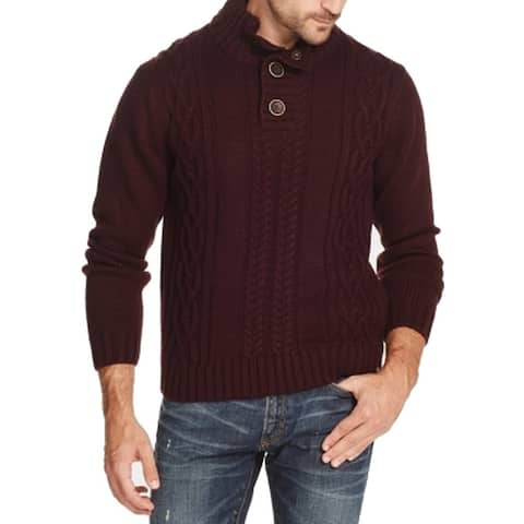 Weatherproof Mens Sweaters Military Button Knit Pullover