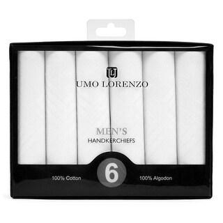 Men's White Fancy Plain 100% Cotton Handkerchiefs