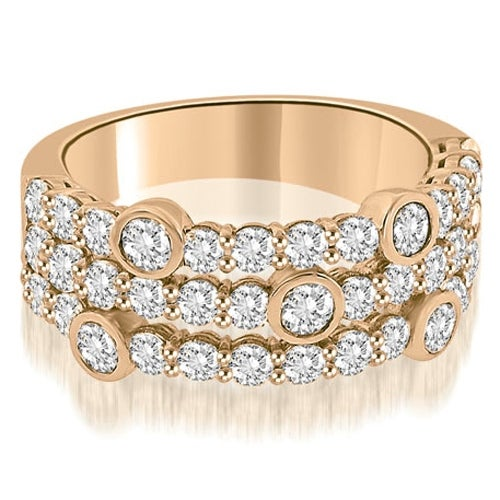 2.20 cttw. 14K Rose Gold Three-Row Round Cut Diamond Wedding Ring
