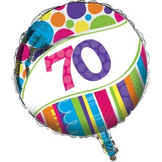 "Club Pack of 12 Bright and Bold Metallic ""70"" Foil Party Balloons"