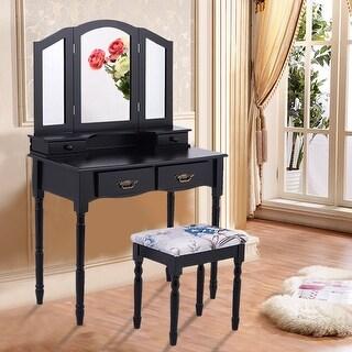 Costway Black Tri Folding Mirror Vanity Makeup Table Stool Set bathroom  W/4 Drawers