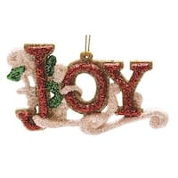 """4.25"""" Merry & Bright Red  White and Green Glitter """"Joy"""" Inspirational Christmas Ornament"""