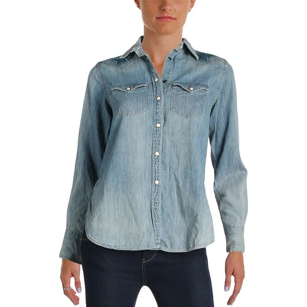 f048e535 Denim & Supply Ralph Lauren Womens Button-Down Top Chambray Embroidered