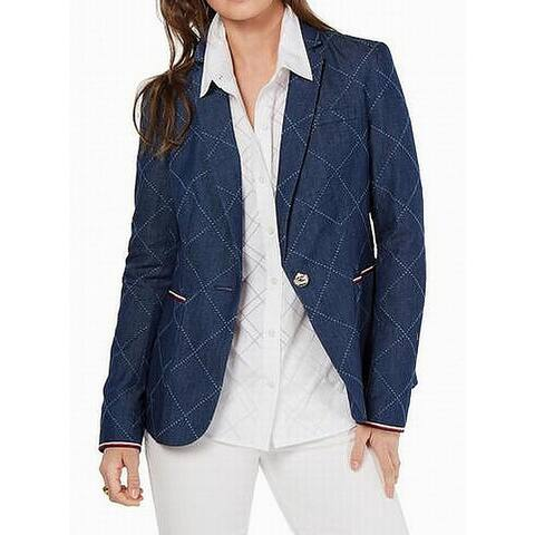 Tommy Hilfiger Womens Blazer Blue Size 6 Chambray Diamond One-Button
