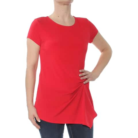INC Womens Red Asymmetrical Short Sleeve Jewel Neck Top Size S