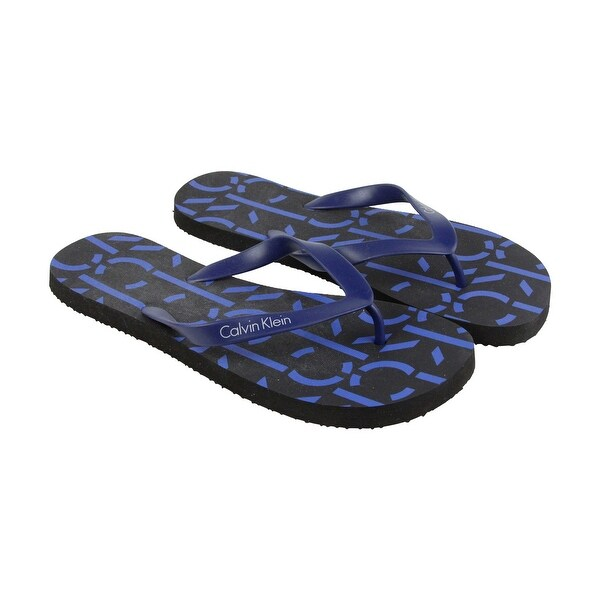Calvin Klein Andrew Mens Blue Synthetic Flip Flops Slip On Sandals Shoes