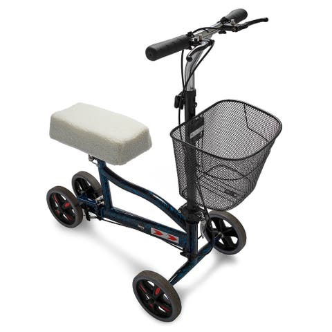 Knox Gear Foldable Knee Walker with Double Brakes and Knee Pad Cover