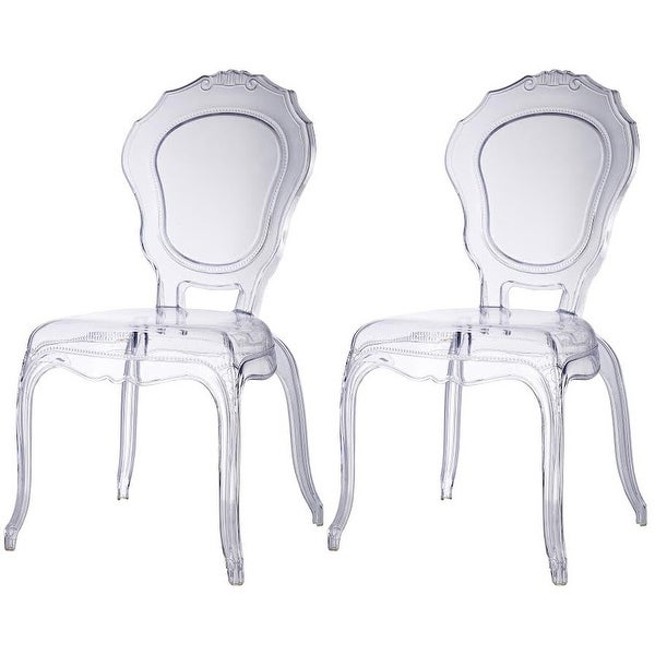 Amazing 2xhome   Set Of Two (2)   Clear   Belle Ghost Chair Clear Side
