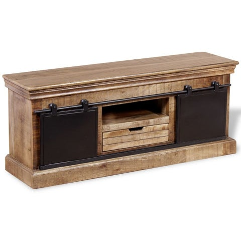 "vidaXL TV Cabinet with 2 Sliding Doors Solid Mango Wood 43.3"""