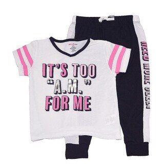 "Little Girls White Black ""It's Too A.M. For Me"" Print 2 Pc Pajama Set"