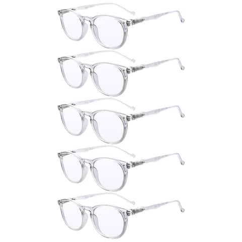 Eyekepper 5 Pack Round Reading Glasses Transparent Frame Readers