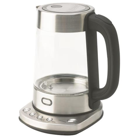 NESCO GWK-03D Digital Glass Water Kettle, 1.7 Liter, Silver