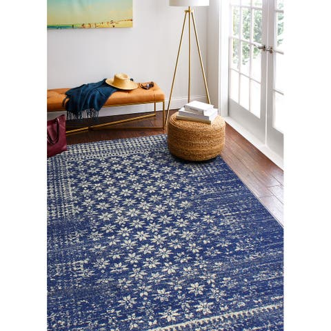 "Bashian Audrey Dark Blue Transitional Area Rug - 9'6"" x 13'6"""