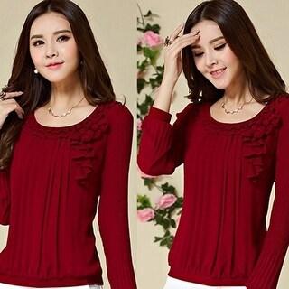 Women Fashion Long Sleeve Chiffon T-shirt Casual Flower Pattern Plus Size Blouse
