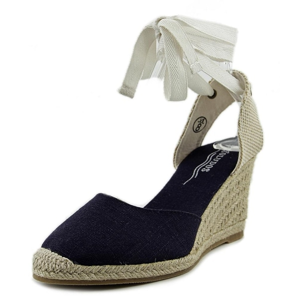 Soludos Tall Wedge Women  Open Toe Canvas Blue Wedge Sandal