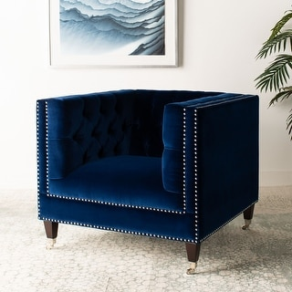 Link to Safavieh Couture Miller Navy Blue Velvet Commercial Grade Chair Similar Items in Sofas & Couches
