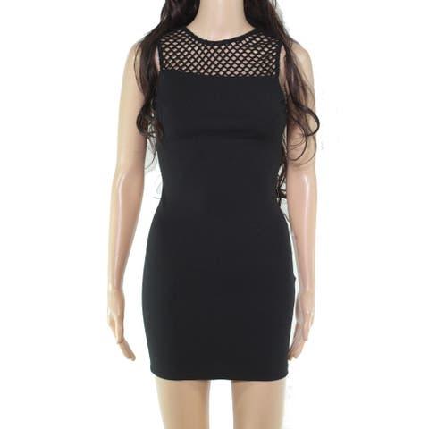B. Darlin Solid Black Size 6 Junior Sheath Dress Stretch Grid Cutouts