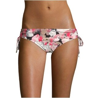 Calvin Klein Womens Printed Side Tie Ruched Bikini Bottom Pink and Brown Small S