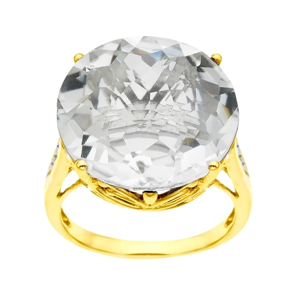 18 1/3 ct White Quartz Ring with Diamonds in 14K Gold