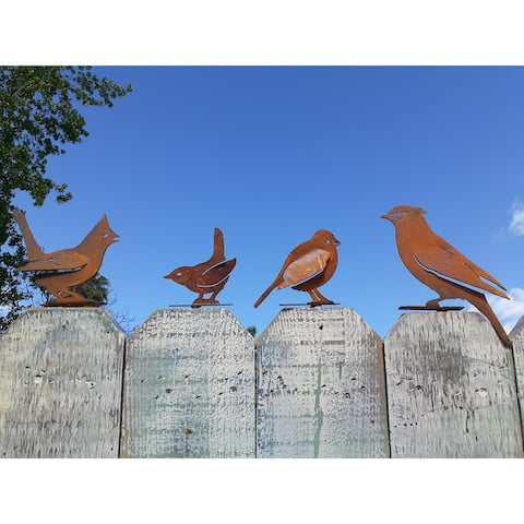 California Home and Garden Set of 4 Metal Rustic Standing Rust Birds Silhouettes, 2 Inch Tall, Brownish Red