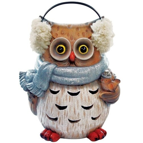 Alpine USA1342 Christmas Decoration Winter Owl Statue, 10""