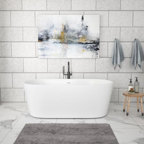 "59"" Acrylic Freestanding Bathtub White Oval Soaking Bathtub with Brushed Nickel Overflow and Drain"