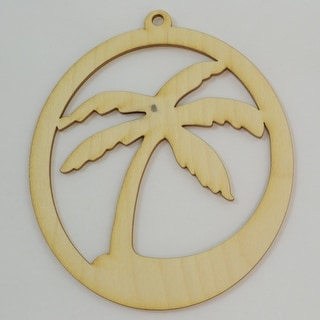"""Package Of 10, Palm Tree Wood Ornament 3.5 """" X 4 """""""