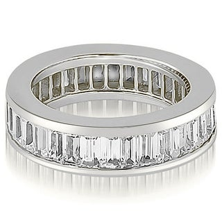 4.00 ct.tw 14K White Gold Emerald Diamond Anniversary Eternity Wedding Ring GH, VS1-2