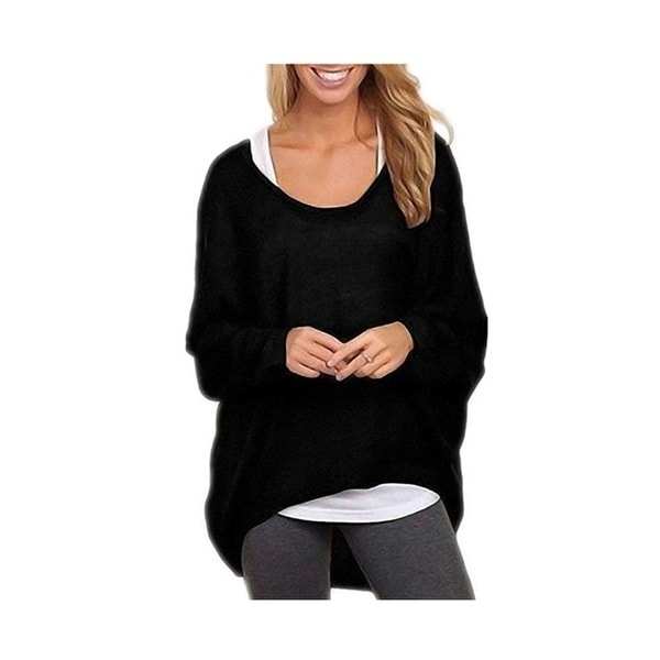58d31c47f94536 Women's Sexy Long Batwing Sleeve Loose Pullover Casual Top Blouse T-