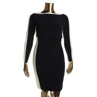 Lauren Ralph Lauren Womens Petites Niomae Colorblock Popover Wear to Work Dress