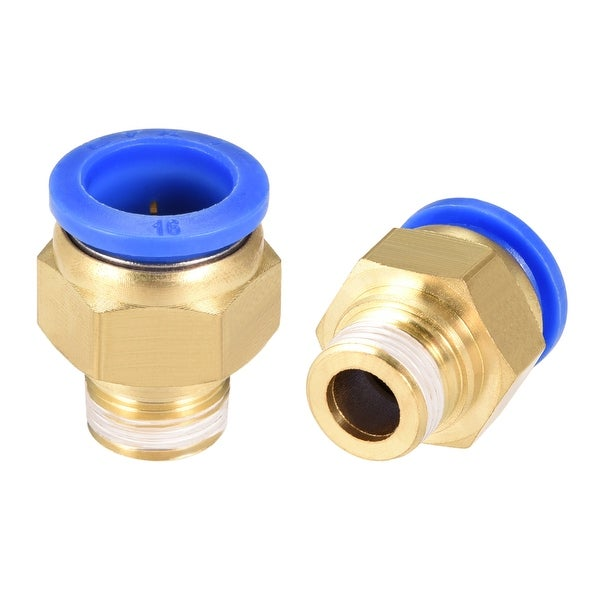"""2Pcs 3/8"""" G Male Straight Thread 16mm Push In Joint Pneumatic Quick Fittings - 5/8"""" OD x 3/8"""" G"""