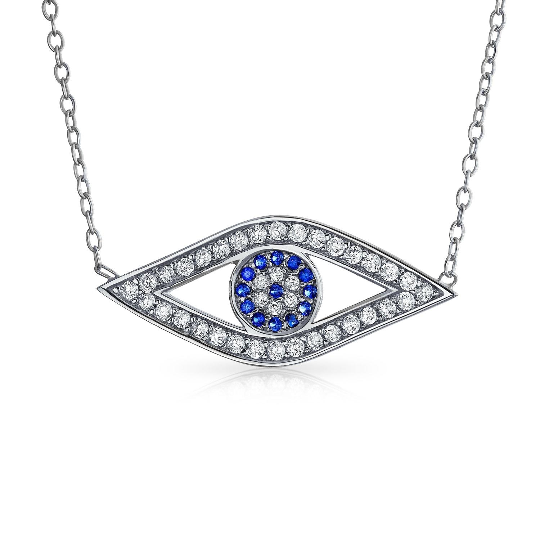 "925 Sterling silver evil blue eye pendant PROTECTION CZ 18/"" silver necklace"