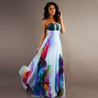 Link to Sexy Wrapped Chest Sleeveless Strapless Shoulder Digital Print Dress Similar Items in Outfits