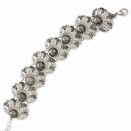 Silvertone Hematite & Black Acrylic Stones Bracelet - 7.5in