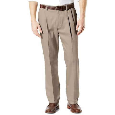 Dockers Mens Pants Beige Size 40X36 Big Classic Fit Pleated Stretch