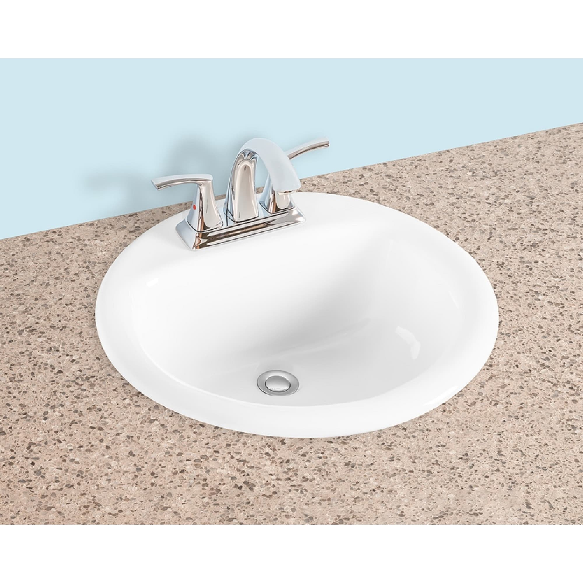 Gele 1919 19 Inch Round Drop In Bathroom Vessel Sink 3 Faucet Holes W 4 Punching White Porcelain Ceramic Counter Top Basin Overstock 31422667