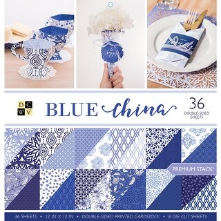 """Dcwv Double-Sided Cardstock Stack 12""""X12"""" 36/Pkg-Blue China, 12 Designs/3 Each"""