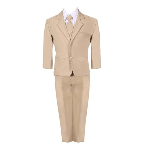 Baby Boys Khaki 5 Piece Classic Vest Jacket Pants Special Occasion Suit
