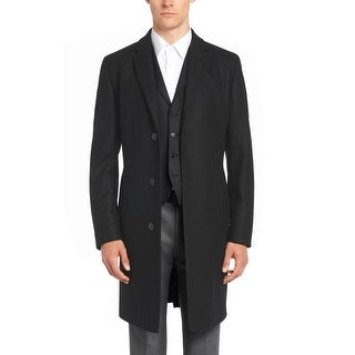 Hugo by Hugo Boss Mens C-Stratus Virgin Wool-Cashmere Coat 46R Black Overcoat